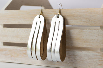 Leather Earrings / Sliced Leather / Silver Metallic