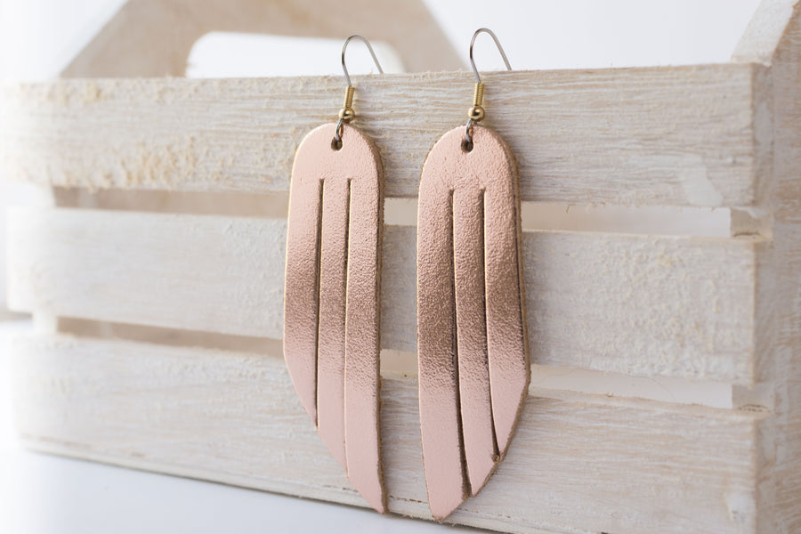 Leather Earrings / Fringe / Metallic Rosegold