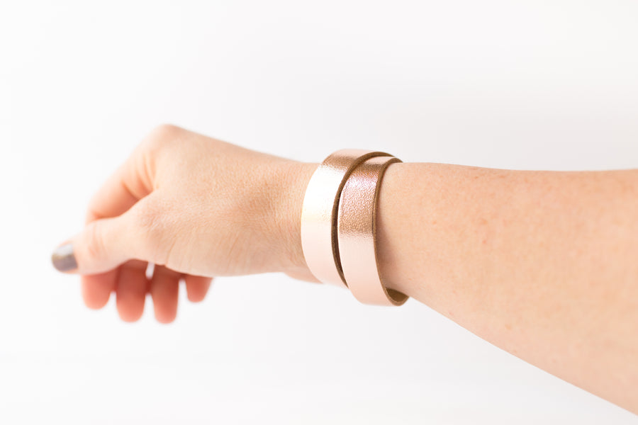 Leather Bracelet / Slim Wrap Cuff / Rosegold Metallic / Regular