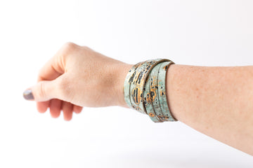 Leather Bracelet / Skinny Sliced Wrap Cuff / Driftwood Turquoise / Small