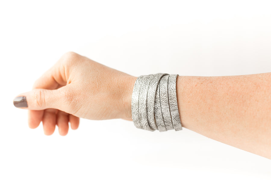 Leather Bracelet / Skinny Sliced Wrap Cuff / Antique Pewter / Extra Large