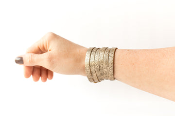 Leather Bracelet / Skinny Sliced Wrap Cuff / Antique Gold / Small