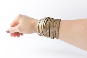 Leather Bracelet / Original Sliced Wrap Cuff / Antique Gold / Small