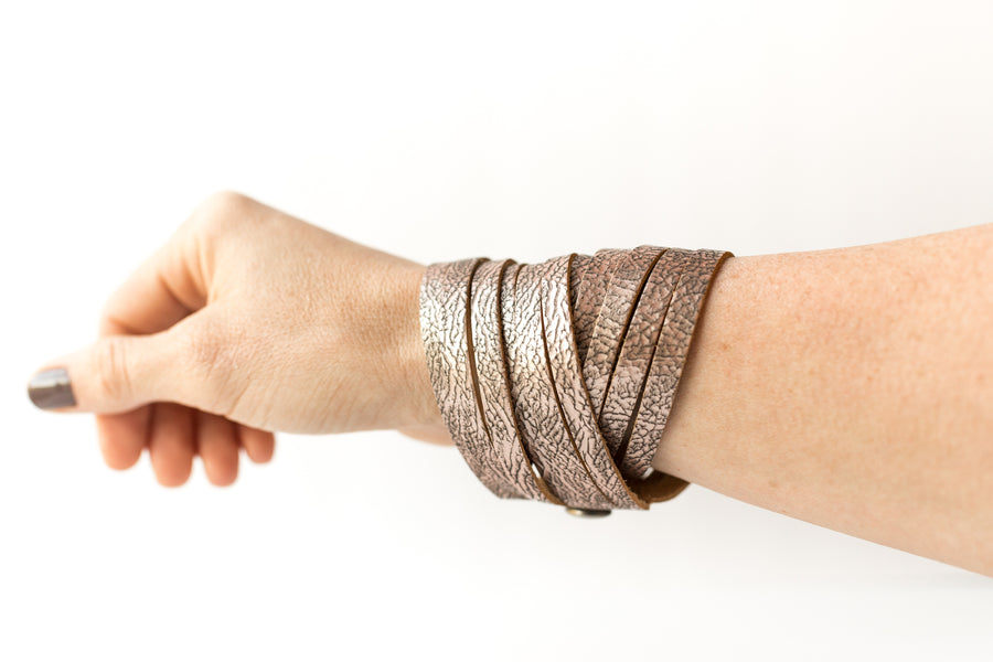 Leather Bracelet / Original Sliced Wrap Cuff / Antique Rosegold / Extra Large