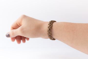 Braided Leather Bracelet / Earth Brown / Kids