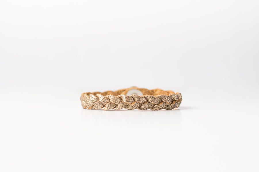 Braided Leather Bracelet / Antique Gold / Large