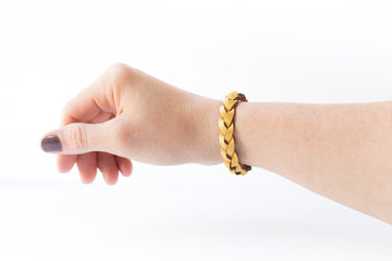Braided Leather Bracelet / Yellow Cream / Kids