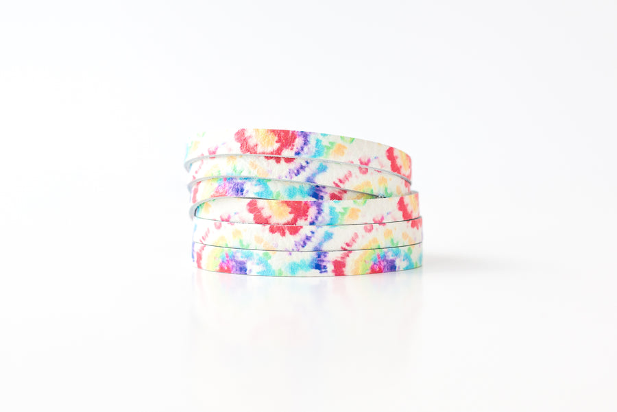 Leather Bracelet / Skinny Sliced Wrap Cuff / Kaleidoscope / Regular