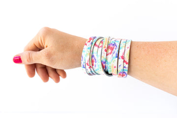 Leather Bracelet / Original Sliced Wrap Cuff / Kaleidoscope / Small