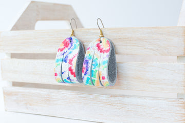 Leather Earrings / Mini Sliced / Kaleidoscope