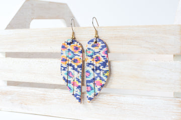 Leather Earrings / Mini Fringe / Summer Fun Cork