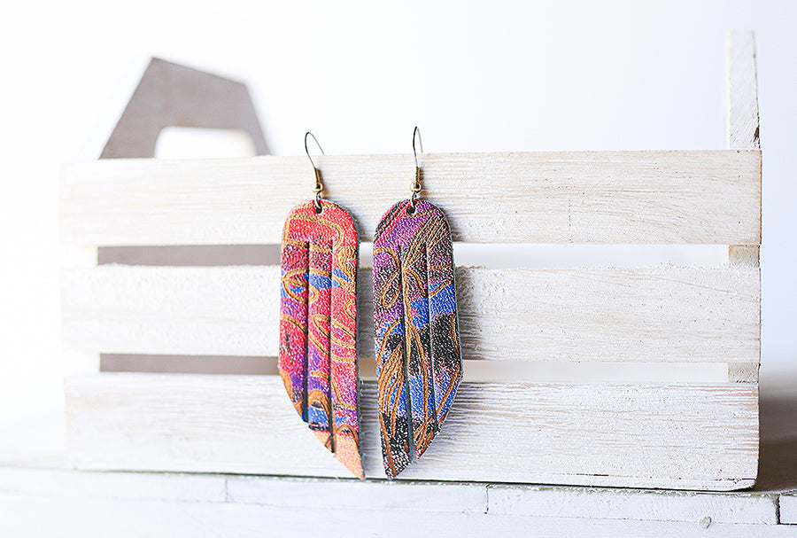 Leather Earrings / Fringe / Cosmic Rainbow