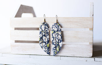 Leather Earrings / Fringe / Navy Poppies Cork