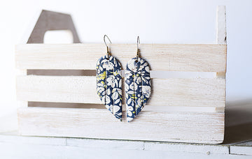 Leather Earrings / Mini Fringe / Navy Poppies Cork
