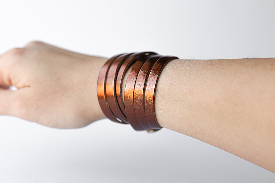 Leather Bracelet / Skinny Sliced Wrap Cuff / Metallic Bronze / Regular