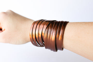 Leather Bracelet / Original Sliced Wrap Cuff / Metallic Bronze / Small