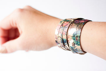 Leather Bracelet / Skinny Sliced Wrap Cuff / Garden Party / Extra Large