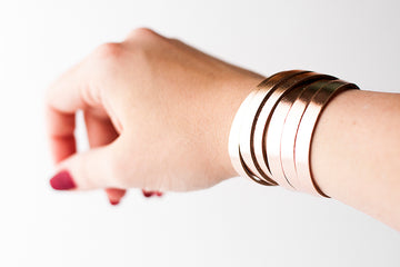 Leather Bracelet / Skinny Sliced Wrap Cuff / Rosegold Metallic / Small