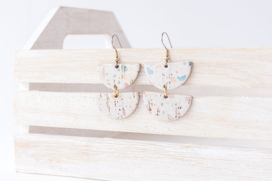 Leather Earrings / Demi Luna / Light Terrazzo Cork