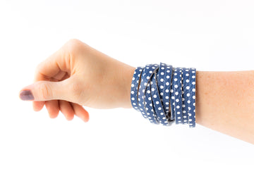 Leather Bracelet / Original Sliced Wrap Cuff / Navy Dots / Regular