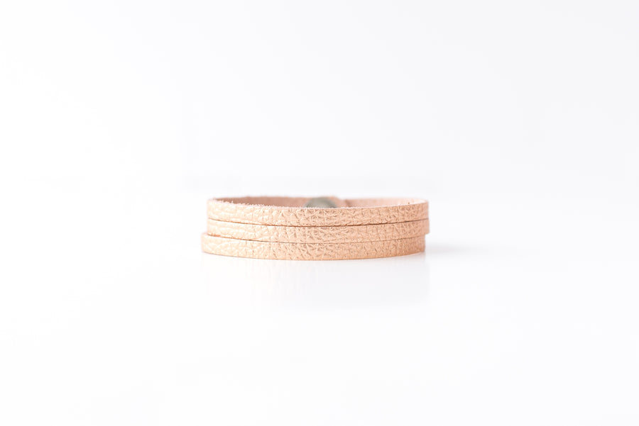 Leather Bracelet / Ultra Skinny Sliced Cuff / Soft Copper / Small