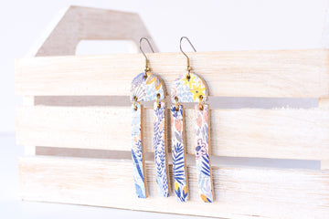 Leather Earrings / Sunrays / Autumn Blues Cork