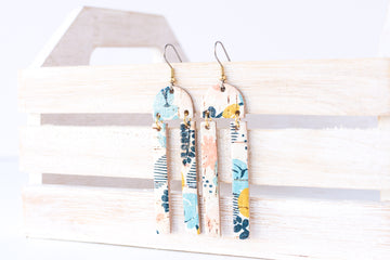 Leather Earrings / Sunrays / Abstract Floral Cork