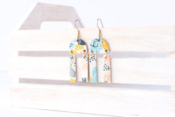 Leather Earrings / Mini Sunrays / Abstract Floral Cork