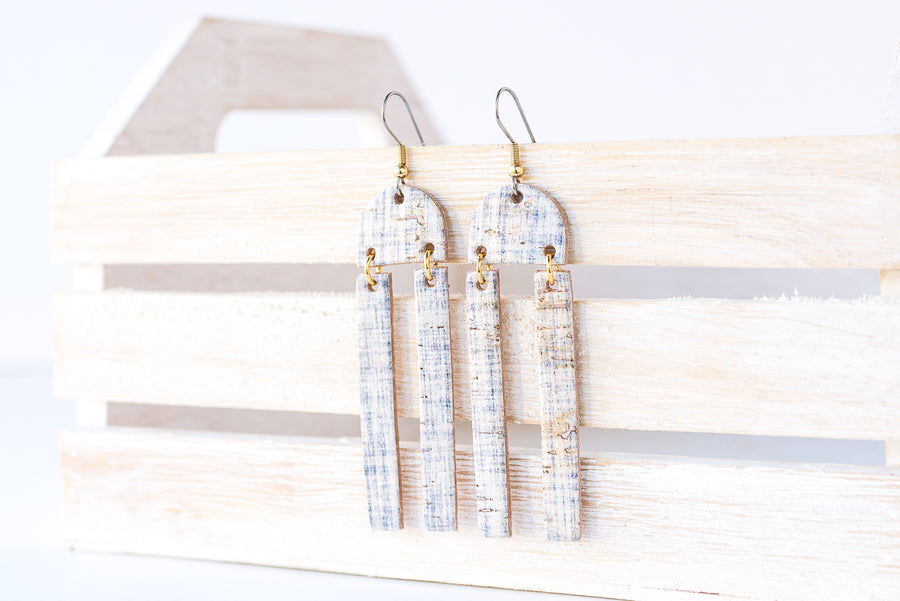 Leather Earrings / Sunrays / Denim Cork