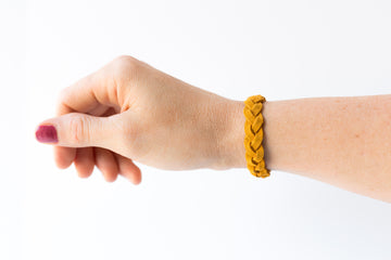 Braided Leather Bracelet / Marigold Suede / Large