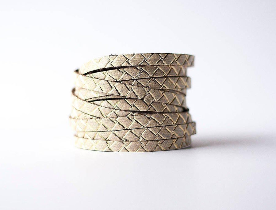 Leather Bracelet / Original Sliced Wrap Cuff / Woven Gold / Large