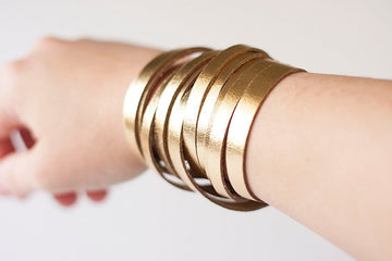 Leather Bracelet / Original Sliced Wrap Cuff / Metallic Gold / Regular