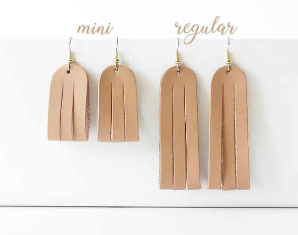 Leather Earrings / Mini Sliced / Cactus Suede