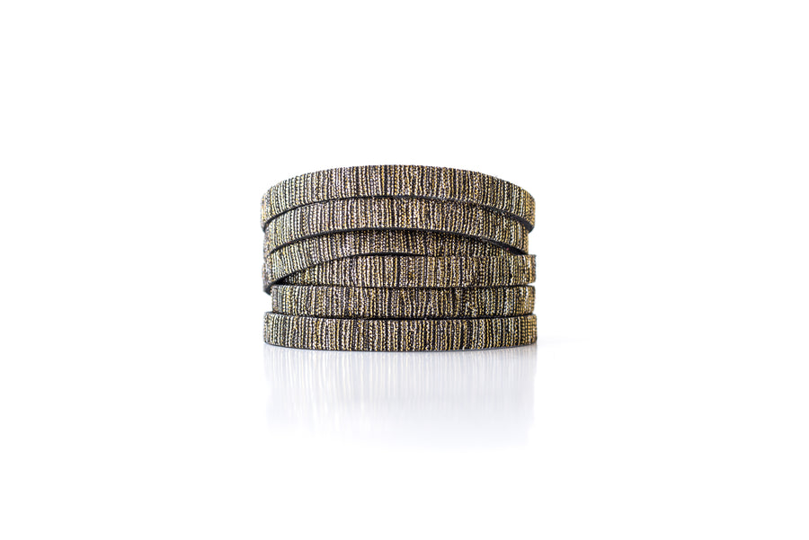 Leather Bracelet / Skinny Sliced Wrap Cuff / Woven Sparkle / Extra Large