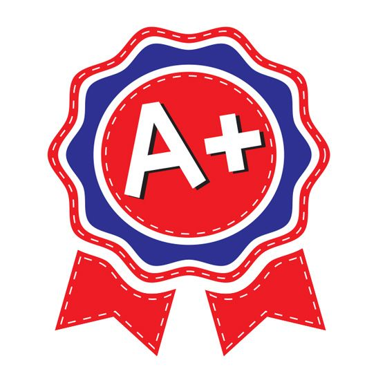 A+ on a red and blue temporary tattoo ribbon for children.