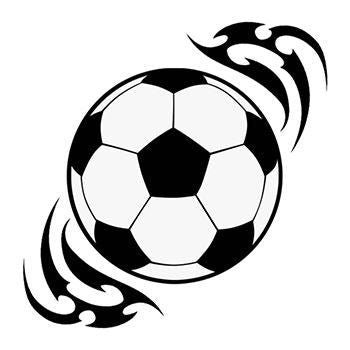 Soccer ball temporary tattoo surrounded by action lines to give illusion of motion.
