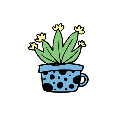 Agave cactus in a blue polka dotted cup temporary tattoo.