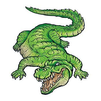 Green alligator laying with an open mouth and exposed teeth temporary tattoo.