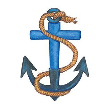Blue anchor with a rope tied to the top and dangling over the anchor temporary tattoo