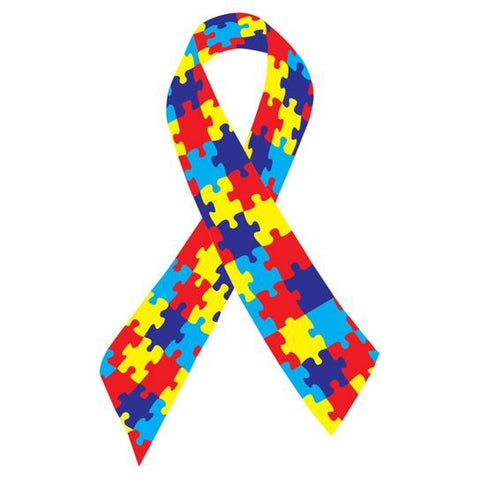 Autism ribbon which is a ribbon made of colorful puzzle pieces temporary tattoo