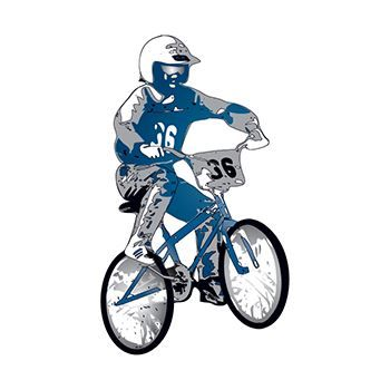 BMX rider with helmet on a numbered bike; temporary tattoo.