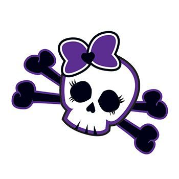 A baby skull and cross bones with a purple bow on the top temporary tattoo