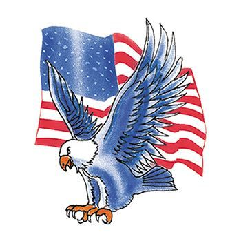 An eagle landing with wings fully spread in front of the American flag temporary tattoo