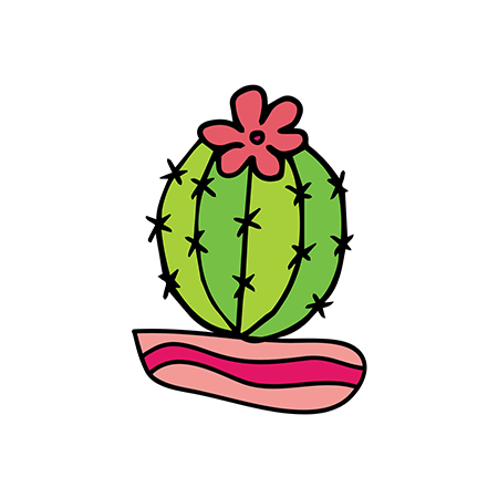 Green cactus with a red flower on top in a stripped pot temporary tattoo