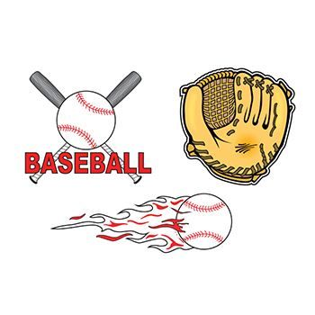 Three images. Left is a baseball with two bats in an X. Right there is a baseball mitt. Below is a baseball with flames behind it. Temporary tattoo.