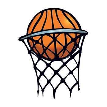Basketball going into a hoop with a basketball net; temporary tattoo