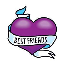 "A purple heart wrapped in a ribbon with text ""Best Friends"" on the front; temporary tattoo."