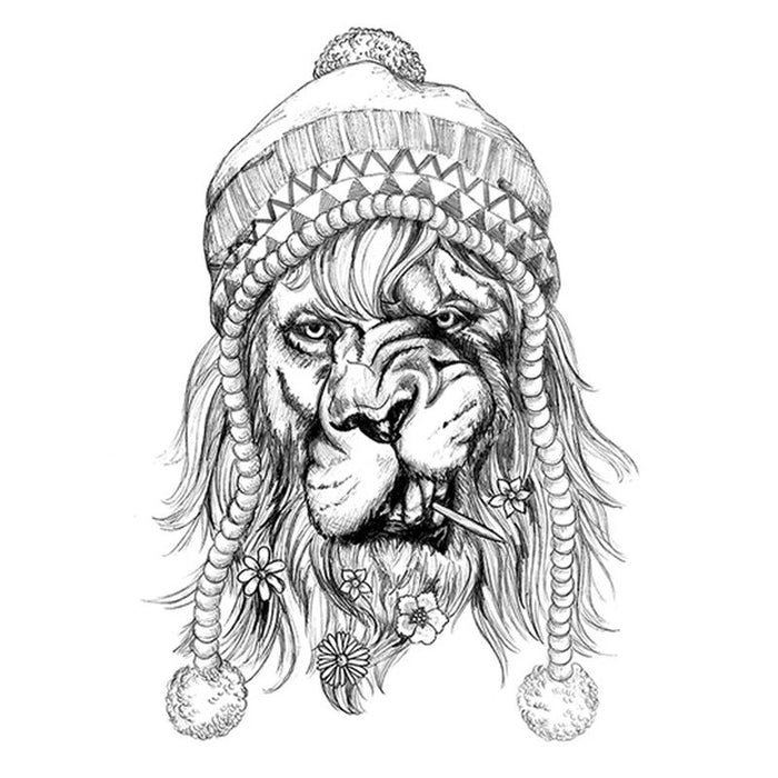 Black Hipster Lion Temporary Tattoo