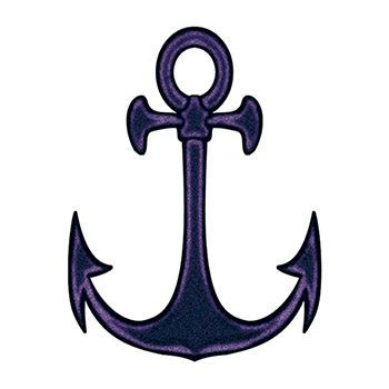 Black anchor with unusually sharp points; temporary tattoo.