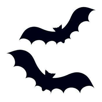 Two flying black bat silhouettes; temporary tattoo.
